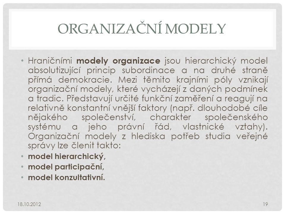 Organizační modely