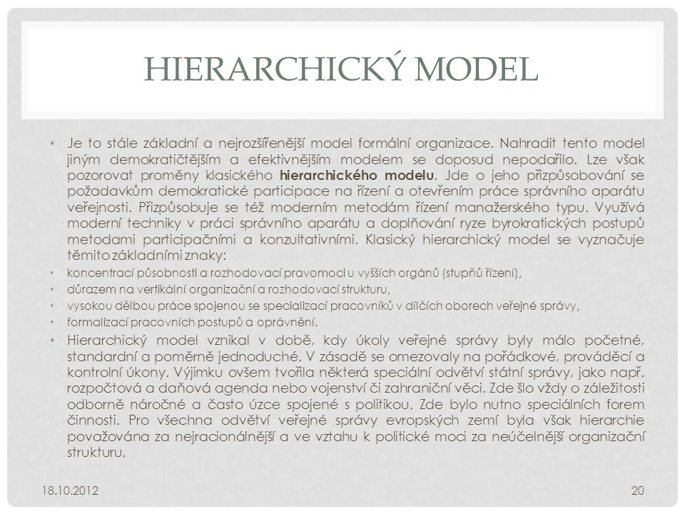 HIERARCHICKÝ MODEL