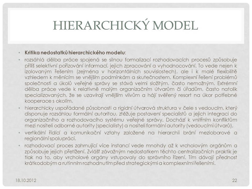 HIERARCHICKÝ MODEL Kritika nedostatků hierarchického modelu: