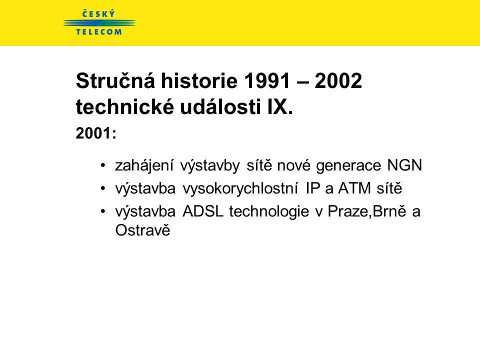 Stručná historie 1991 – 2002 technické události IX.