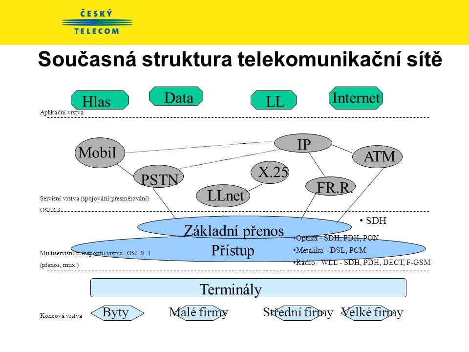Současná struktura telekomunikační sítě