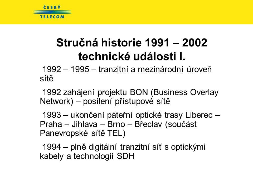 Stručná historie 1991 – 2002 technické události I.