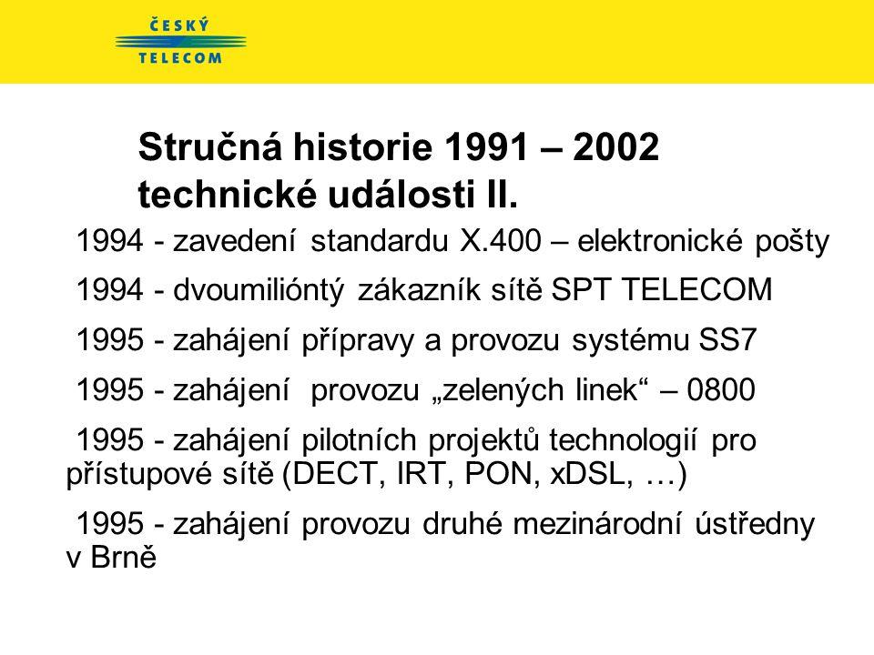 Stručná historie 1991 – 2002 technické události II.