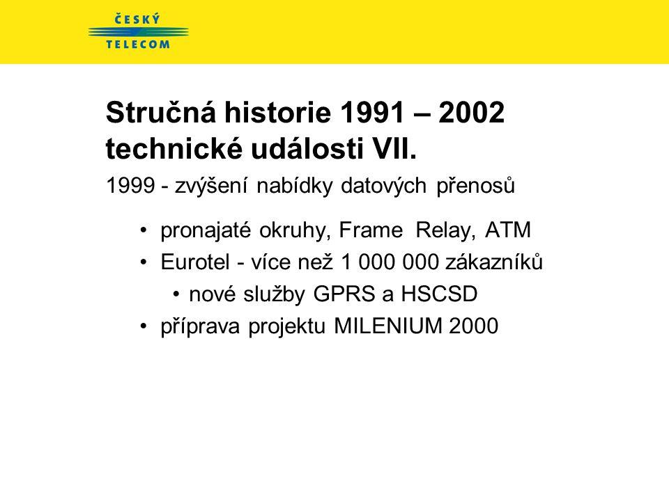 Stručná historie 1991 – 2002 technické události VII.