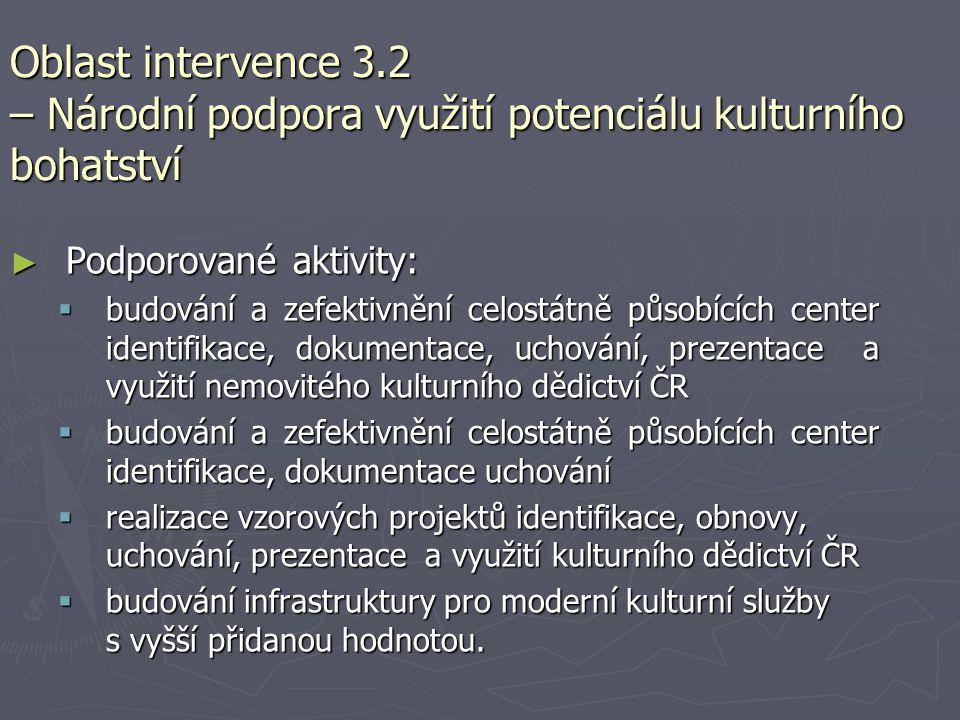 Oblast intervence 3.2 – Národní podpora využití potenciálu kulturního bohatství