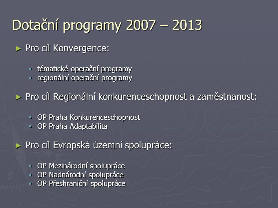 Dotační programy 2007 – 2013 Pro cíl Konvergence: