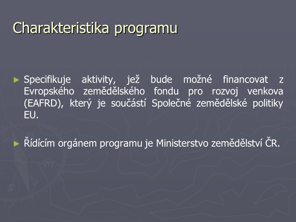Charakteristika programu