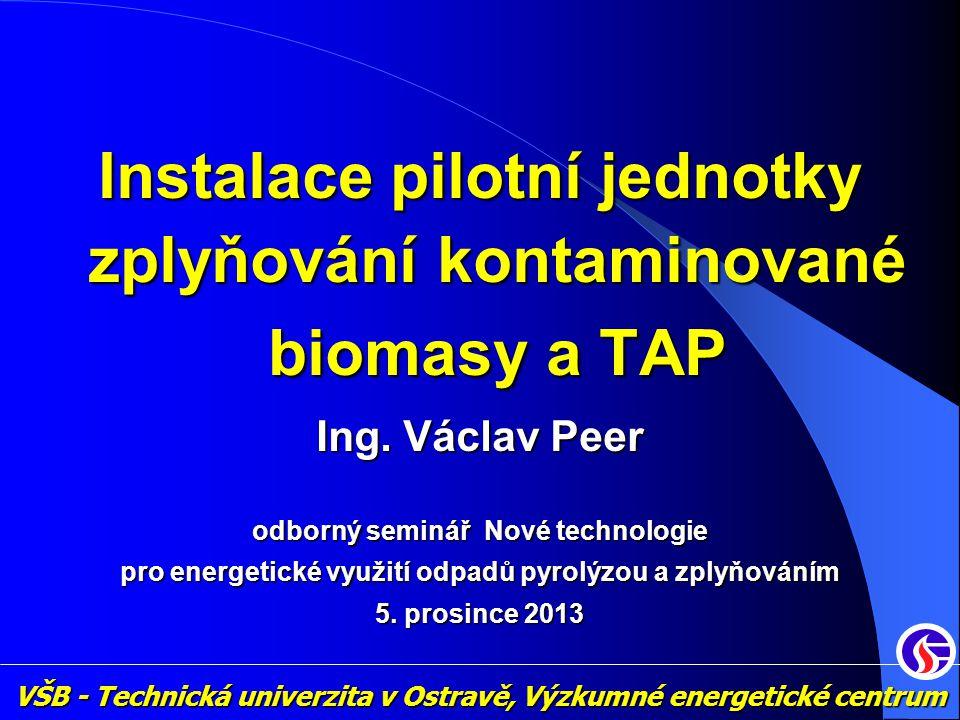 Instalace pilotní jednotky zplyňování kontaminované biomasy a TAP