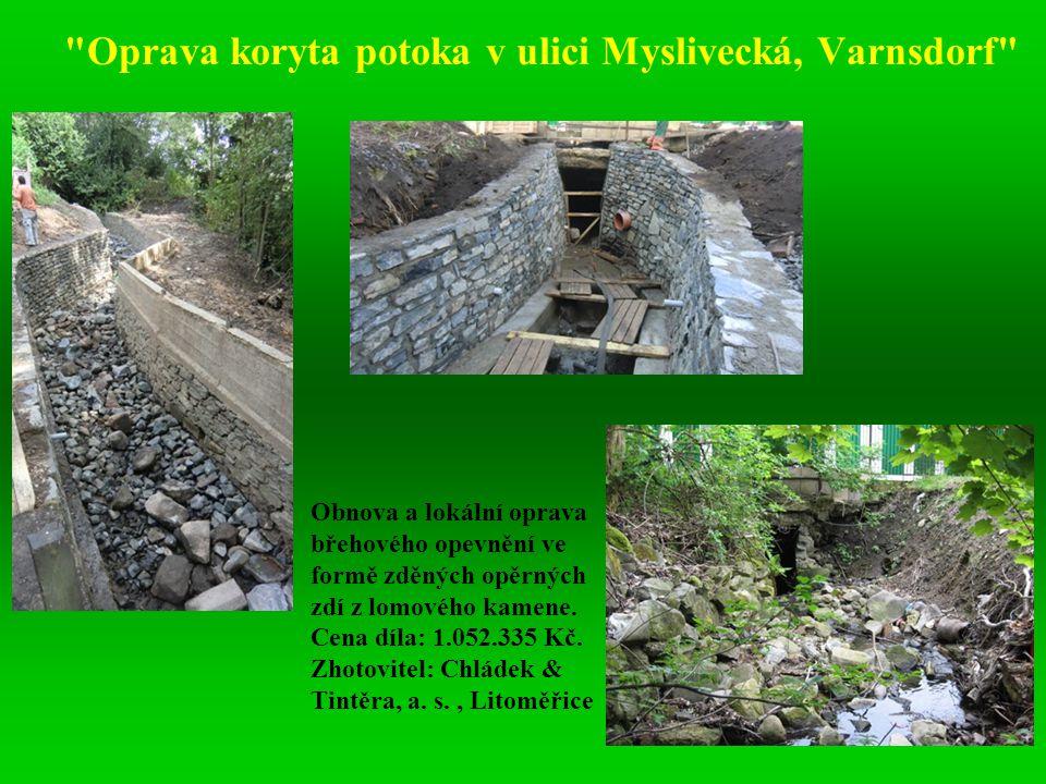Oprava koryta potoka v ulici Myslivecká, Varnsdorf