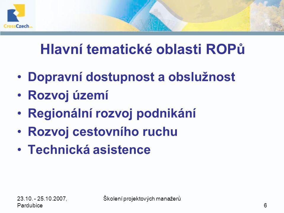 Hlavní tematické oblasti ROPů