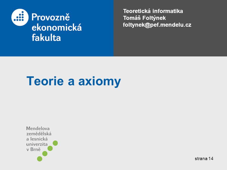 Teorie a axiomy