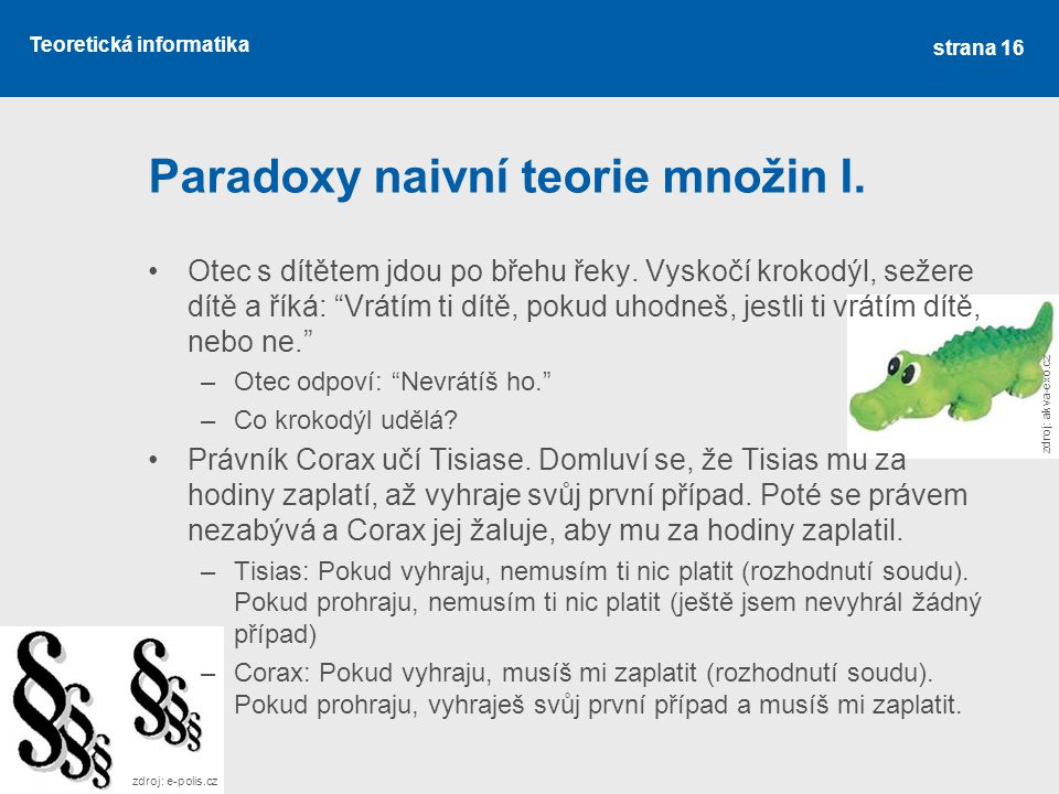 Paradoxy naivní teorie množin I.