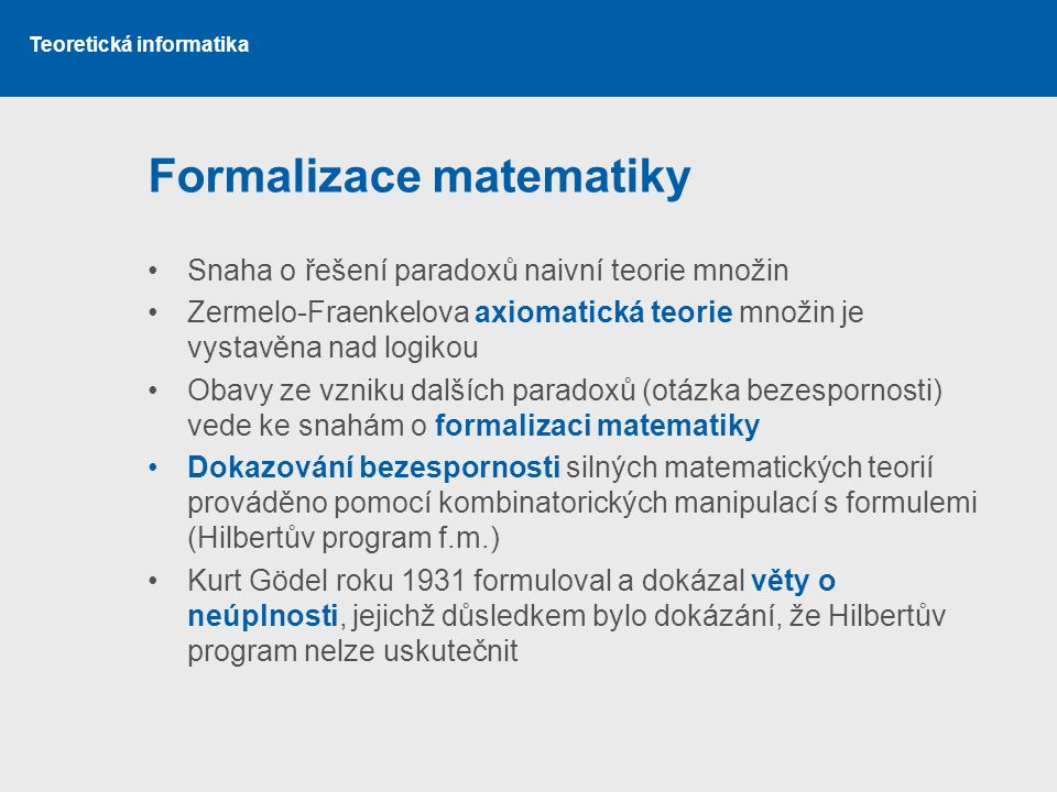 Formalizace matematiky