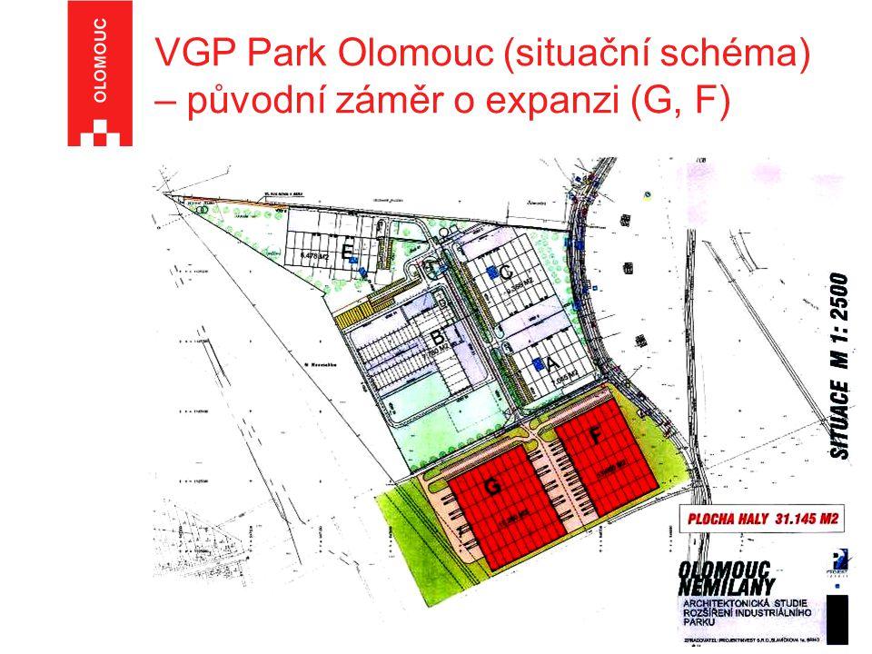 VGP Park Olomouc (situační schéma) – původní záměr o expanzi (G, F)