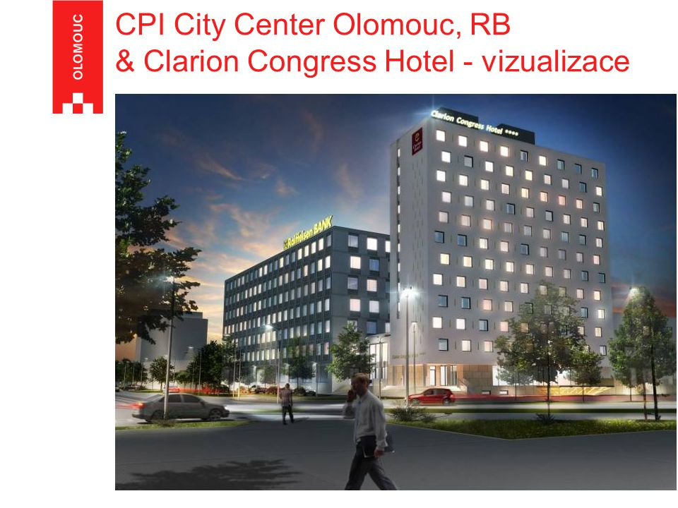 CPI City Center Olomouc, RB & Clarion Congress Hotel - vizualizace
