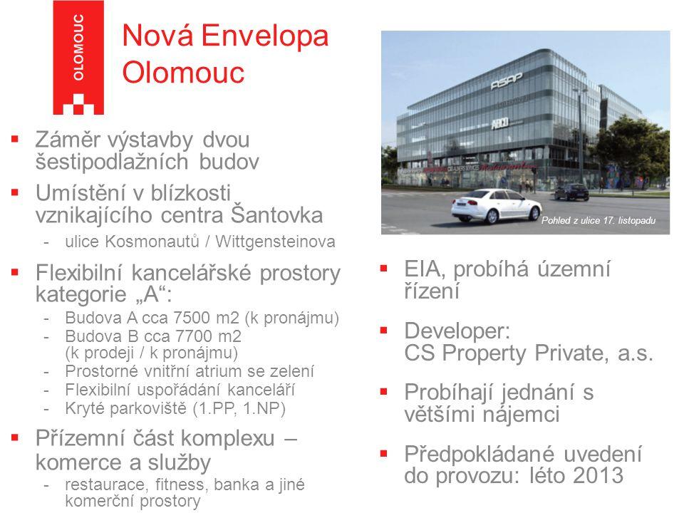 Nová Envelopa Olomouc Záměr výstavby dvou šestipodlažních budov