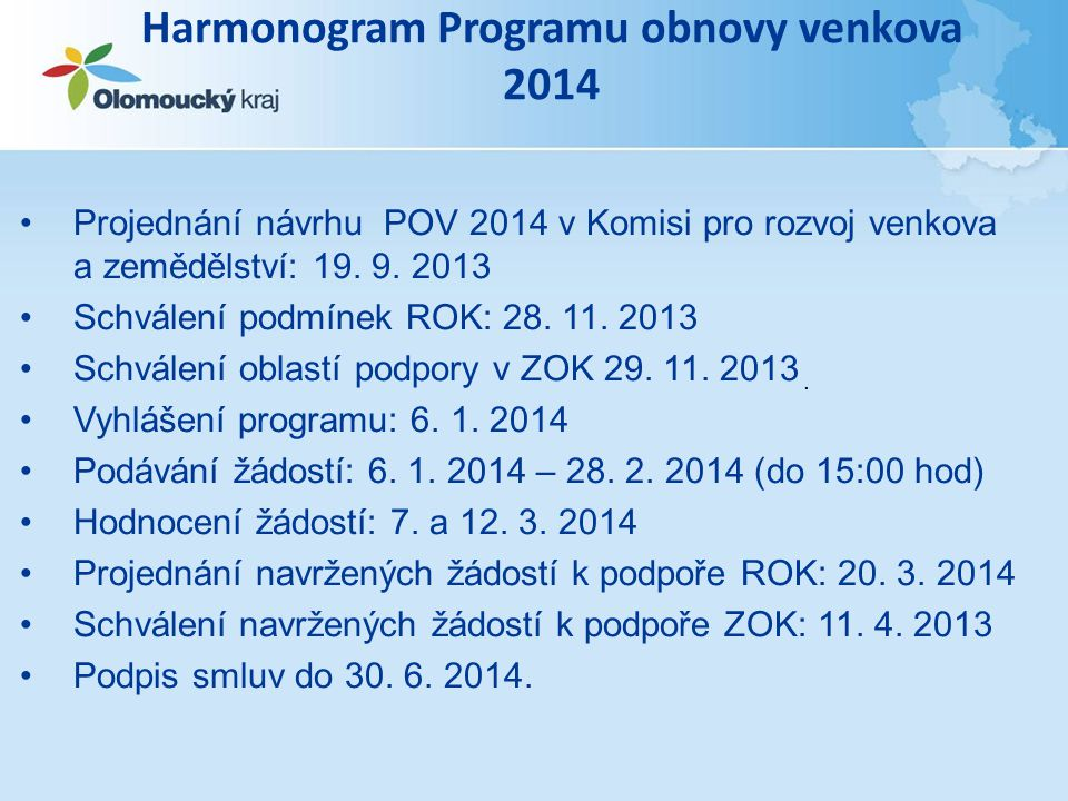 Harmonogram Programu obnovy venkova 2014