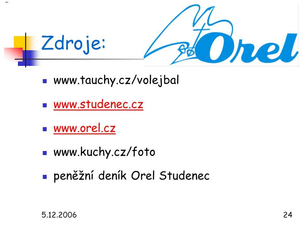 Zdroje: www.tauchy.cz/volejbal www.studenec.cz www.orel.cz