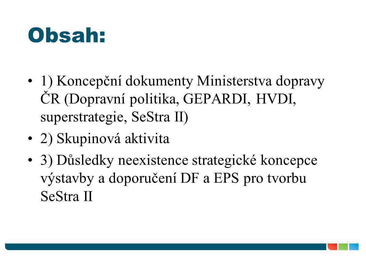 Obsah: 1) Koncepční dokumenty Ministerstva dopravy ČR (Dopravní politika, GEPARDI, HVDI, superstrategie, SeStra II)