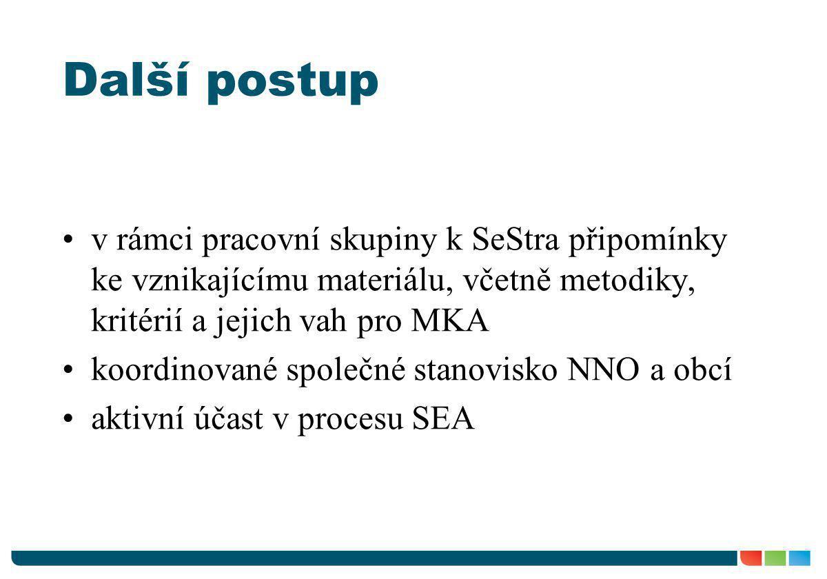 Další postup v rámci pracovní skupiny k SeStra připomínky ke vznikajícímu materiálu, včetně metodiky, kritérií a jejich vah pro MKA.
