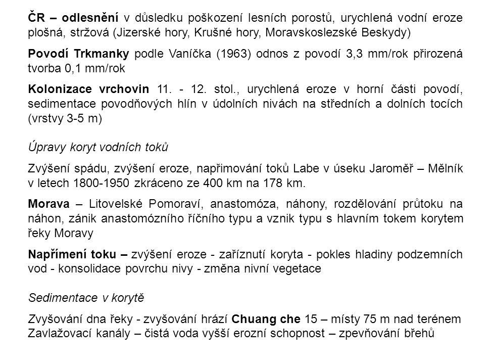 ČR – odlesnění v důsledku poškození lesních porostů, urychlená vodní eroze plošná, stržová (Jizerské hory, Krušné hory, Moravskoslezské Beskydy)