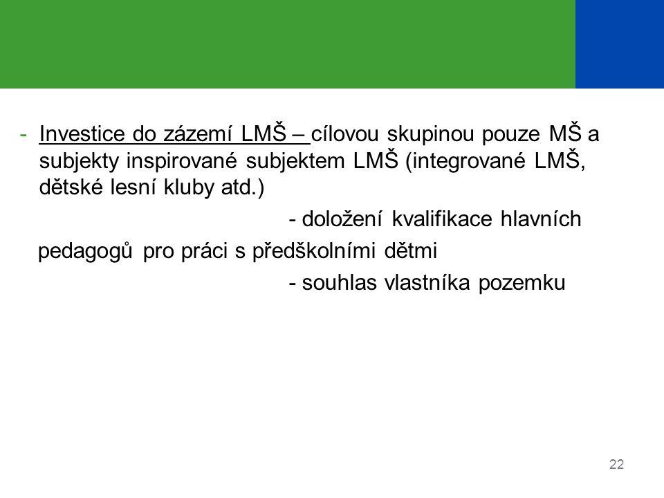 Investice do zázemí LMŠ – cílovou skupinou pouze MŠ a subjekty inspirované subjektem LMŠ (integrované LMŠ, dětské lesní kluby atd.)