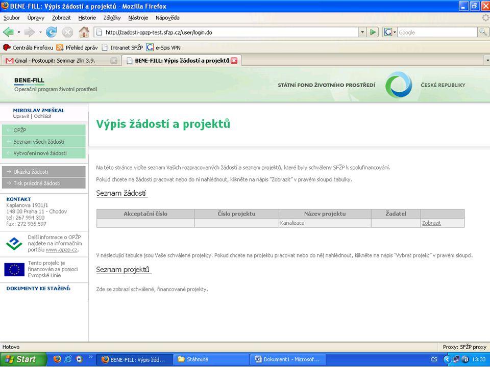 Výpis žádostí a projektů