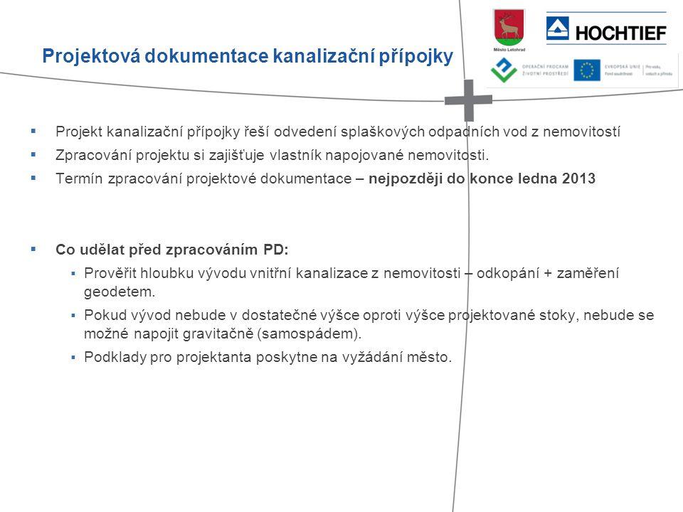 Projektová dokumentace kanalizační přípojky