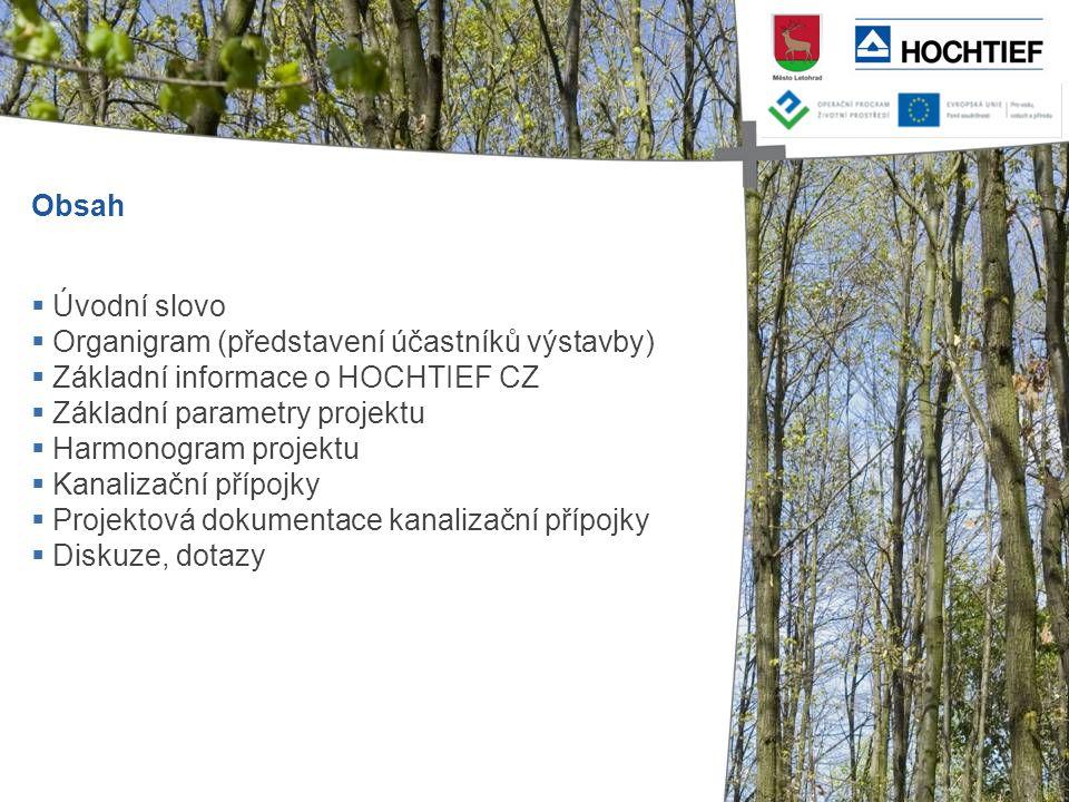 Obsah Úvodní slovo. Organigram (představení účastníků výstavby) Základní informace o HOCHTIEF CZ.