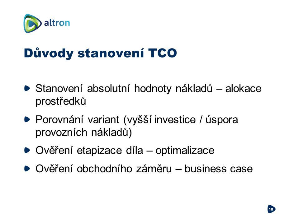 Důvody stanovení TCO Stanovení absolutní hodnoty nákladů – alokace prostředků. Porovnání variant (vyšší investice / úspora provozních nákladů)
