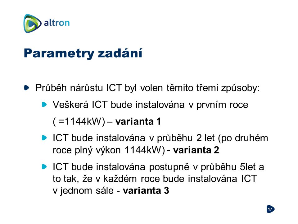 Parametry zadání Průběh nárůstu ICT byl volen těmito třemi způsoby: