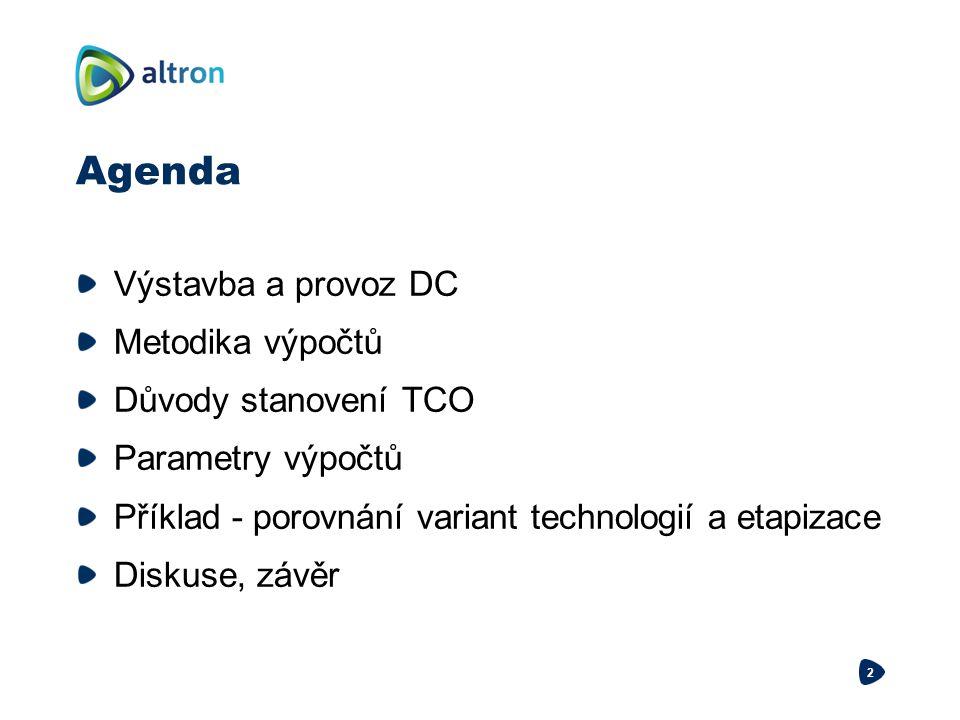 Agenda Výstavba a provoz DC Metodika výpočtů Důvody stanovení TCO
