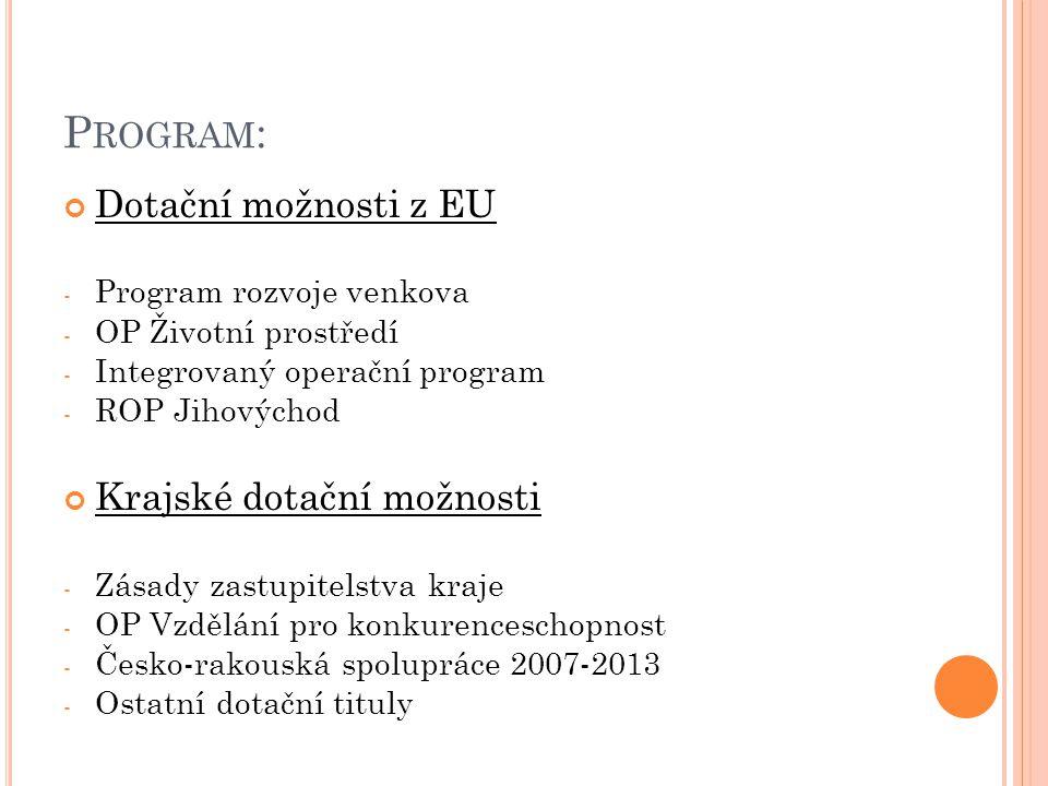Program: Dotační možnosti z EU Krajské dotační možnosti