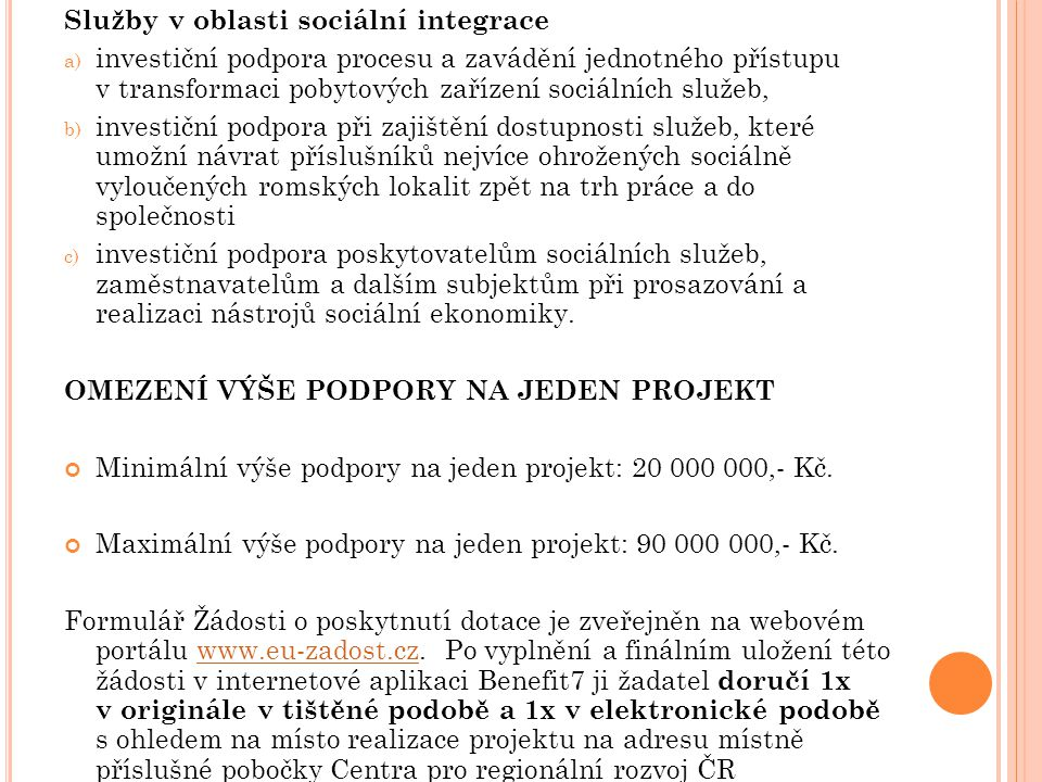 Služby v oblasti sociální integrace