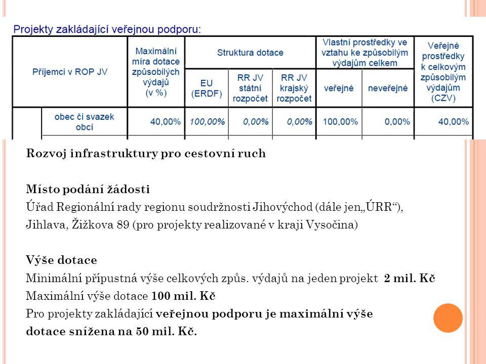 """Rozvoj infrastruktury pro cestovní ruch Místo podání žádosti Úřad Regionální rady regionu soudržnosti Jihovýchod (dále jen""""ÚRR ), Jihlava, Žižkova 89 (pro projekty realizované v kraji Vysočina) Výše dotace Minimální přípustná výše celkových způs."""