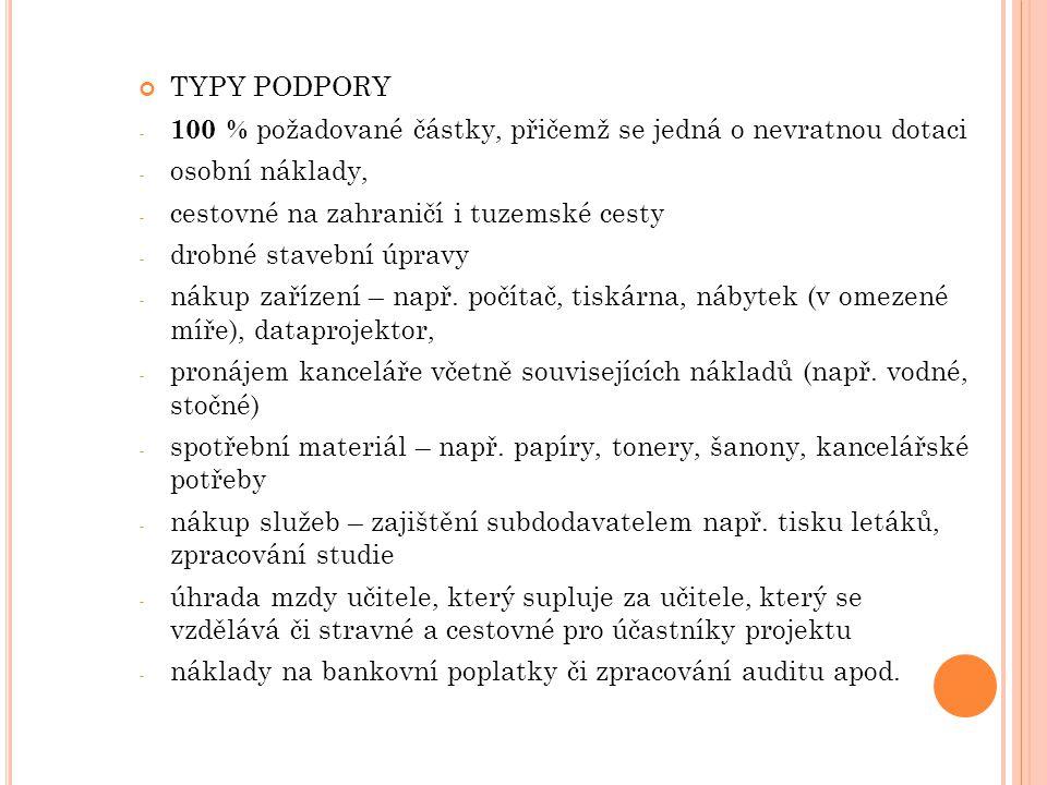TYPY PODPORY 100 % požadované částky, přičemž se jedná o nevratnou dotaci. osobní náklady, cestovné na zahraničí i tuzemské cesty.
