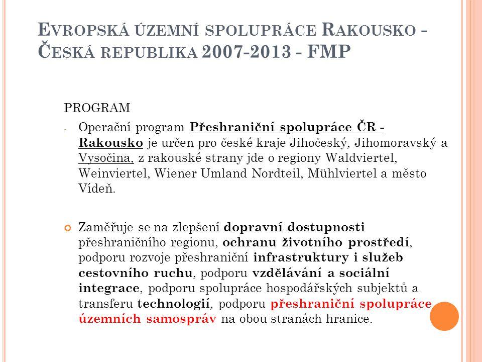 Evropská územní spolupráce Rakousko - Česká republika 2007-2013 - FMP
