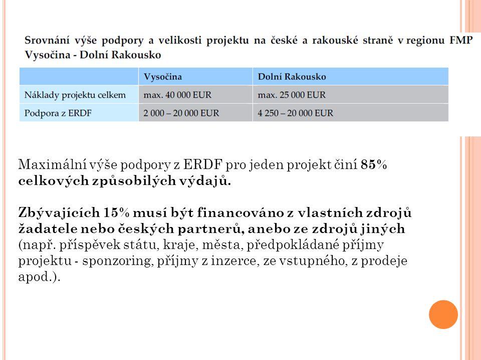 Maximální výše podpory z ERDF pro jeden projekt činí 85% celkových způsobilých výdajů.