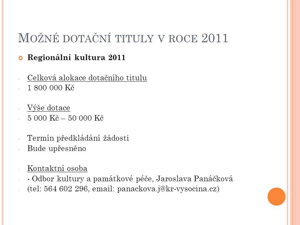 Možné dotační tituly v roce 2011