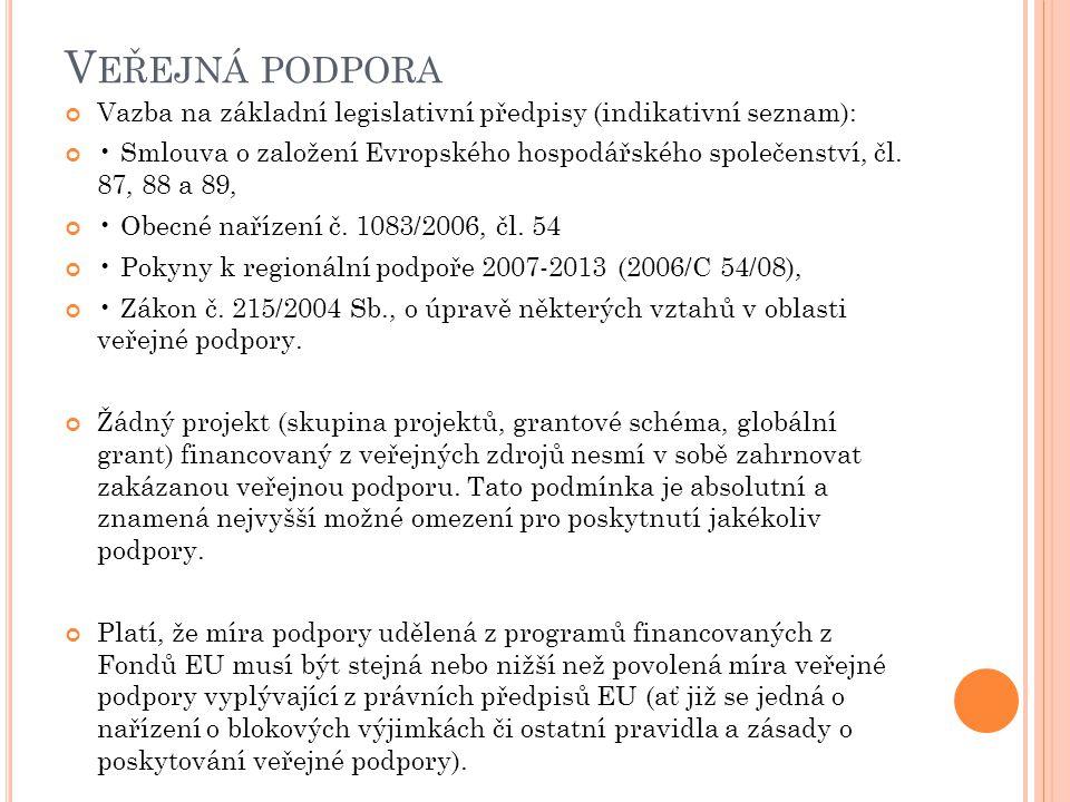Veřejná podpora Vazba na základní legislativní předpisy (indikativní seznam):