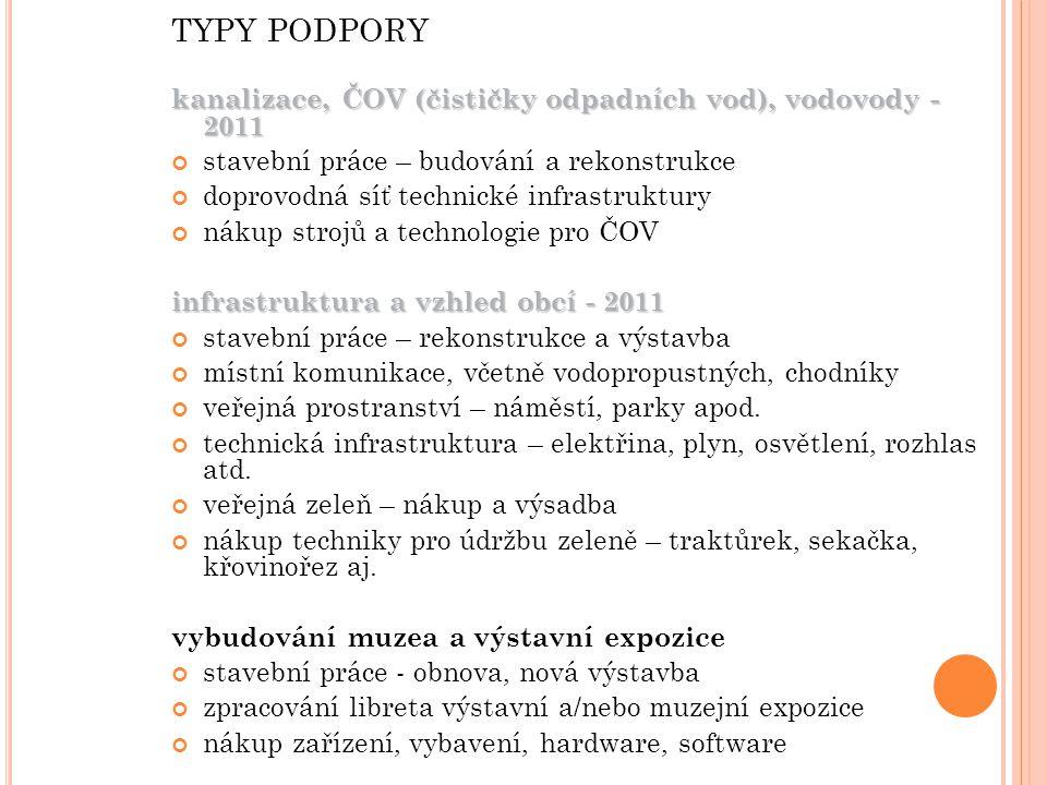 TYPY PODPORY kanalizace, ČOV (čističky odpadních vod), vodovody - 2011