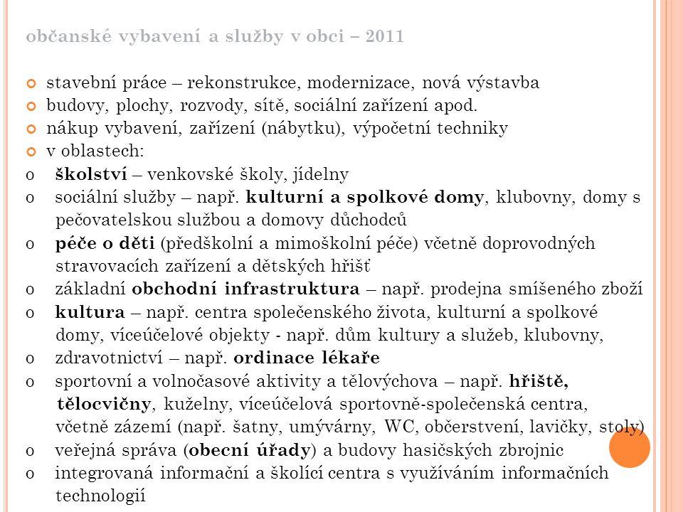 občanské vybavení a služby v obci – 2011