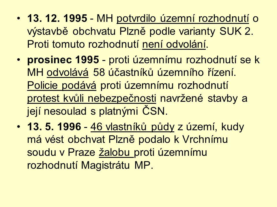 13. 12. 1995 - MH potvrdilo územní rozhodnutí o výstavbě obchvatu Plzně podle varianty SUK 2. Proti tomuto rozhodnutí není odvolání.
