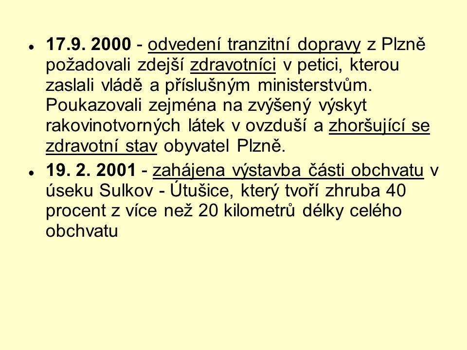 17.9. 2000 - odvedení tranzitní dopravy z Plzně požadovali zdejší zdravotníci v petici, kterou zaslali vládě a příslušným ministerstvům. Poukazovali zejména na zvýšený výskyt rakovinotvorných látek v ovzduší a zhoršující se zdravotní stav obyvatel Plzně.