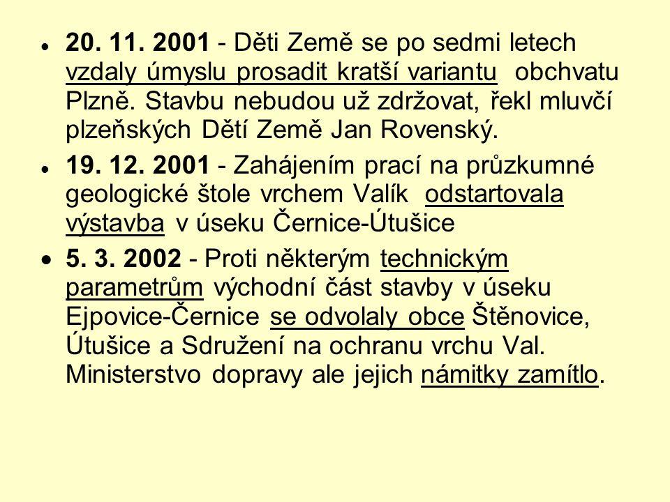 20. 11. 2001 - Děti Země se po sedmi letech vzdaly úmyslu prosadit kratší variantu obchvatu Plzně. Stavbu nebudou už zdržovat, řekl mluvčí plzeňských Dětí Země Jan Rovenský.