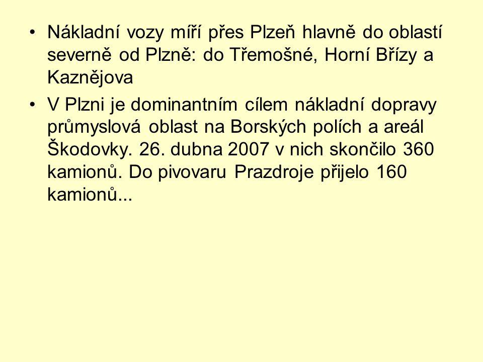 Nákladní vozy míří přes Plzeň hlavně do oblastí severně od Plzně: do Třemošné, Horní Břízy a Kaznějova