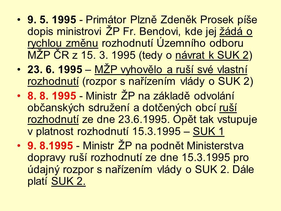 9. 5. 1995 - Primátor Plzně Zdeněk Prosek píše dopis ministrovi ŽP Fr