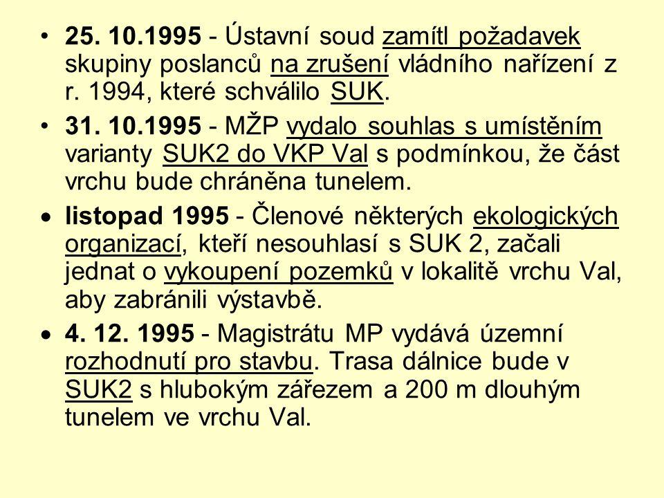 25. 10.1995 - Ústavní soud zamítl požadavek skupiny poslanců na zrušení vládního nařízení z r. 1994, které schválilo SUK.