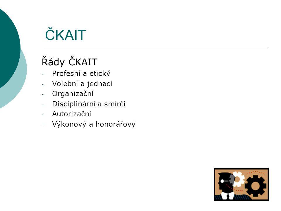 ČKAIT Řády ČKAIT Profesní a etický Volební a jednací Organizační