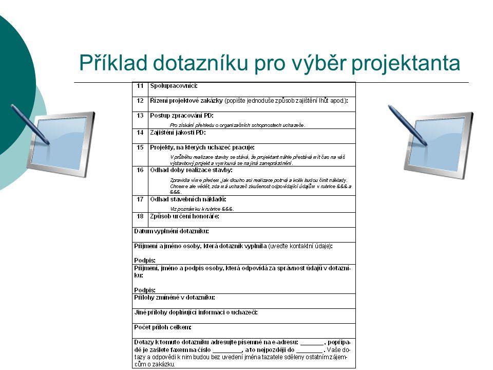 Příklad dotazníku pro výběr projektanta